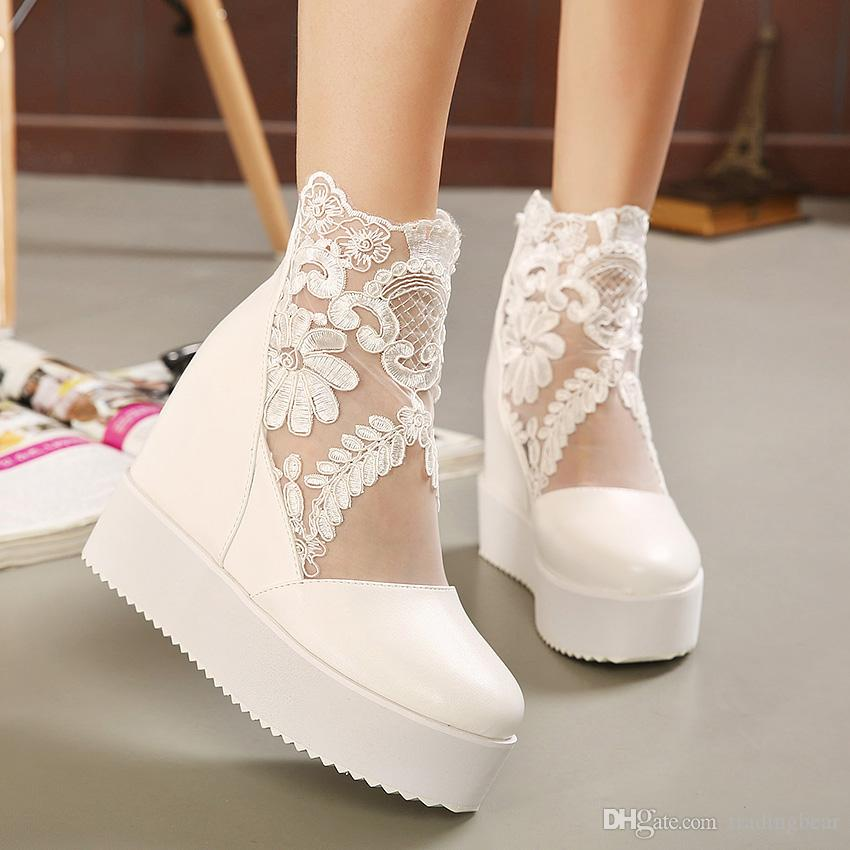 Princess Pearl Lace Floral Wedge Shoes Wedding Bridal High