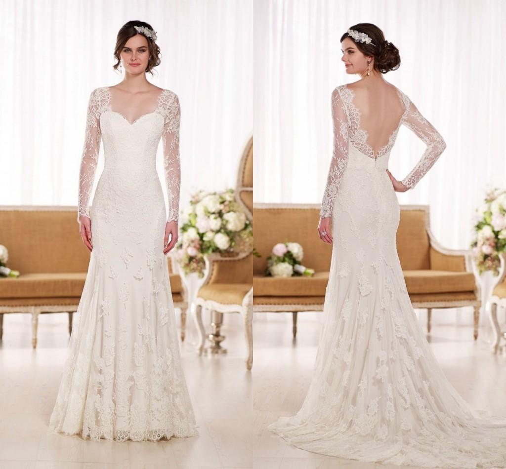 Vintage Elegant Sheer Long Sleeve Wedding Dresses 2017 Sweetheart ...