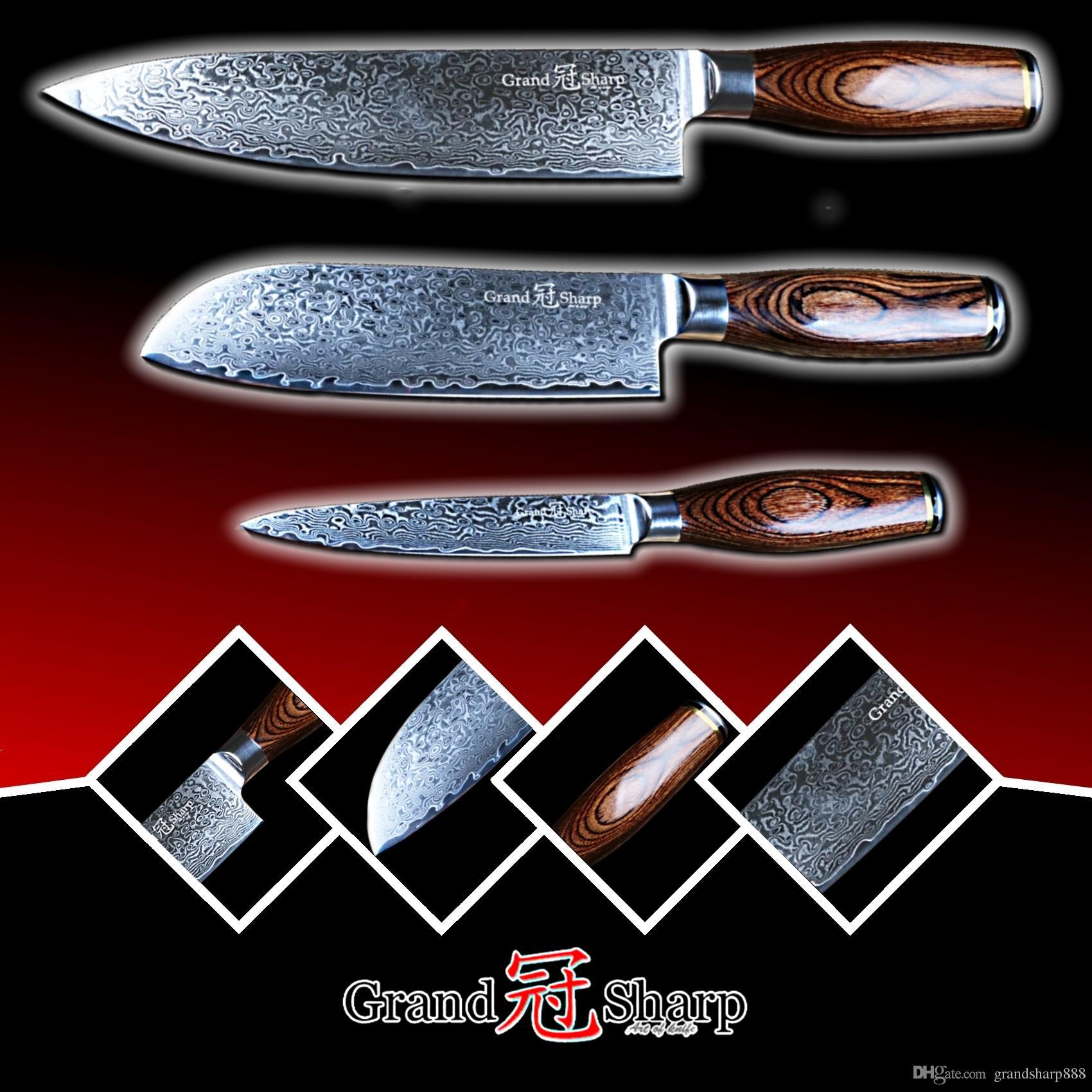 GRANDSHARP Damascus Knife Set 67 Layers Japanese Damascus Steel Vg10 Chef  Santoku Utility Kitchen Knives FREE GIFT Chef Knife Damascus Steel Vg10  Damascus ...
