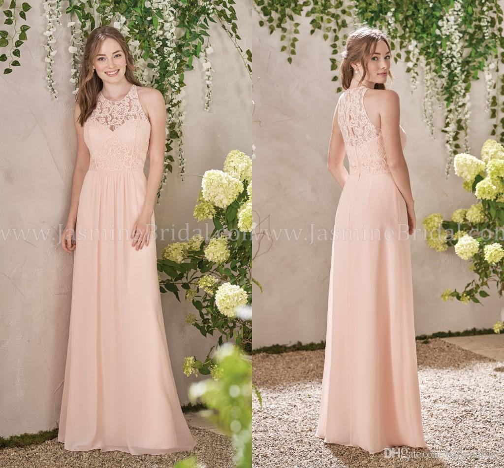 2017 Newest Pink Halter Neck Bridesmaid Dresses Lace