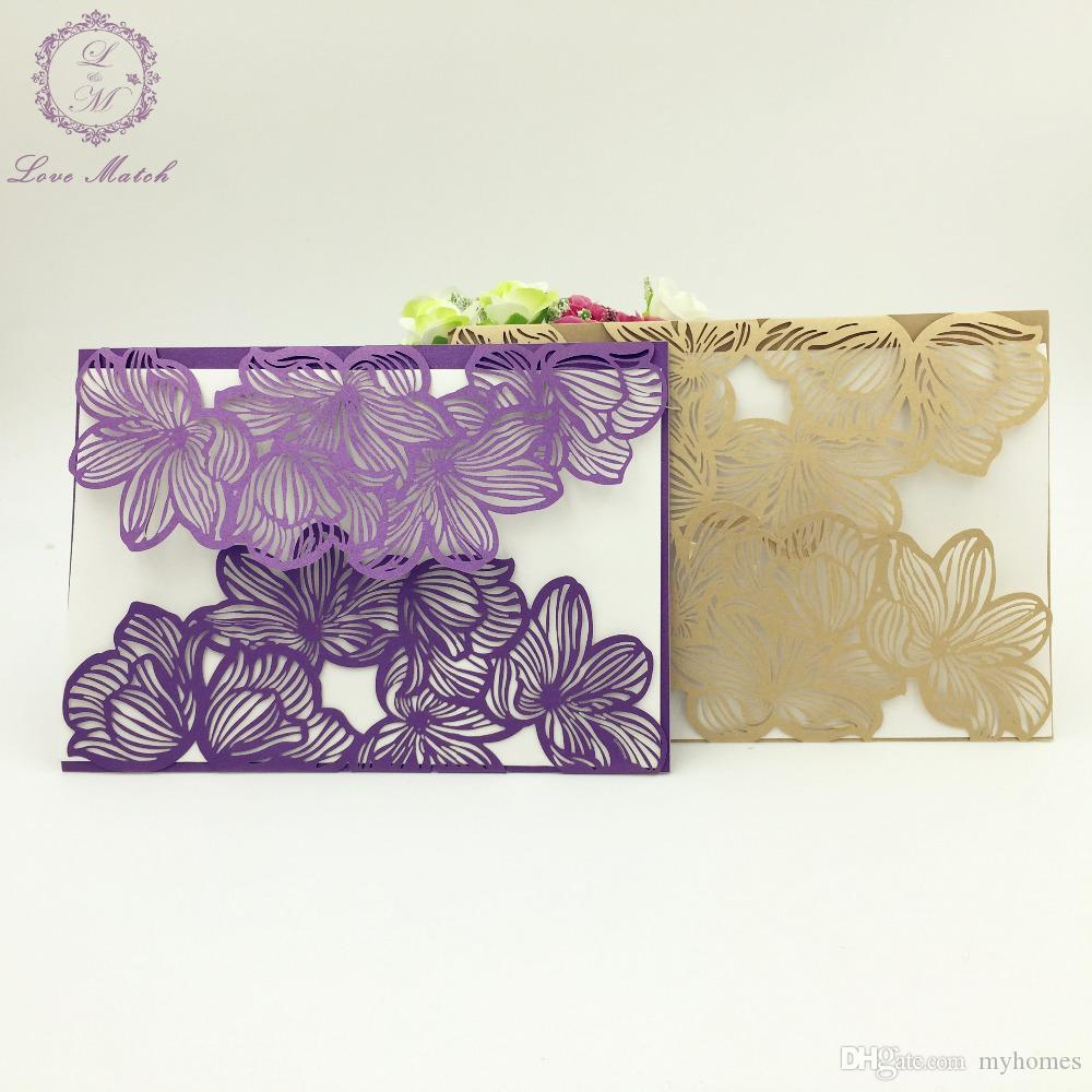 Wholesale Flower WeddingBusinessPartyBirthday Invitation Laser - Birthday invitation cards luxury