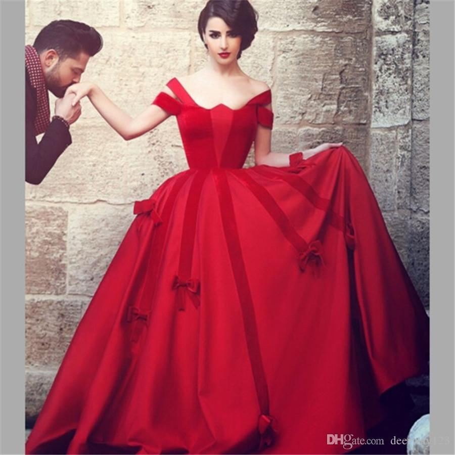 Sais mhamad red prom dresses ball gown cap sleeve satin for Red wedding dresses with sleeves