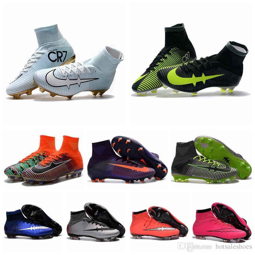 High Top Mens Kids Football Boots Mercurial CR7 Superfly V FG Boys Soccer Boots Women Youth Soccer Cleats New Cristiano Ronaldo Shoes 2017