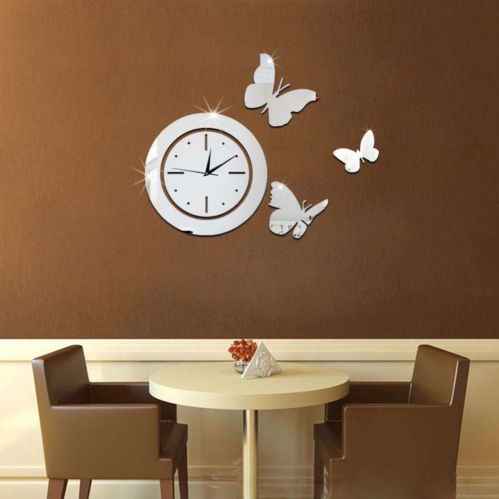 Mirror wall stickers 3d acrylic europe sticker home decor for 3d acrylic mirror wall sticker clock decoration decor