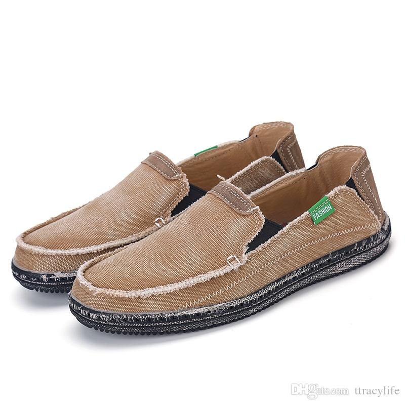 Mens Canvas Slip On Shoes With Velcro