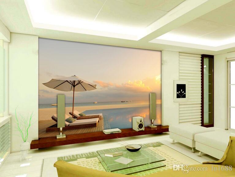 Modern simple 3d outdoor sunset large sea wall murals for 3d wallpaper for home malaysia