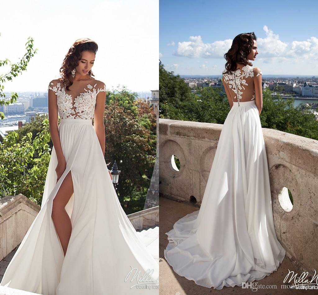 Beach wedding dresses with split : Discount milla nova split beach wedding dresses jewel