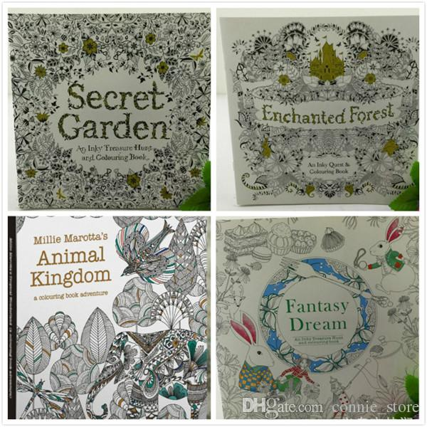 DHL Secret Garden Coloring Book Painting Drawing 24 Pages Animal Kingdom Relieve Stress For Children Adult Christmas Gifts JC105 Books