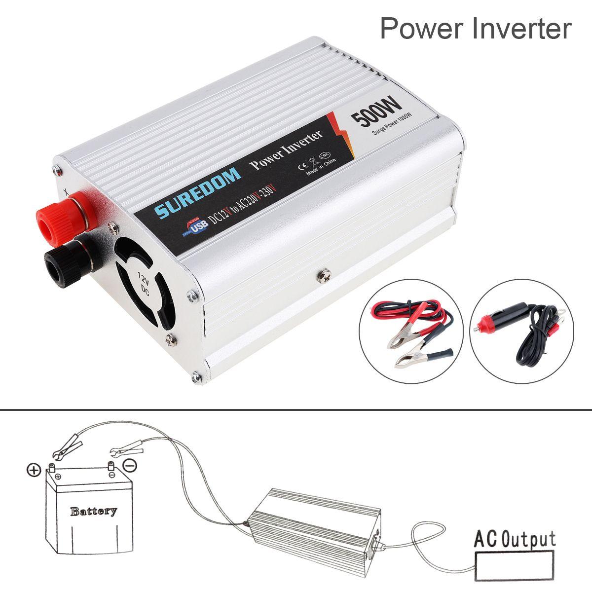 500W DC a AC Convertidor de corriente DC 12V a 110V 220V AC Inversor autom/ático de autom/óvil Transformador con adaptador USB doble para autom/óvil Color: rojo