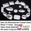 Buy High Shine Rhinestones 17 Shapes Mixed 3Flatback Crystal Clear Glass Strass Sew Garment
