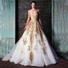 Buy Hot ! 2014 New Evening Dresses Rami Kadi Sweetheart Golden Appliques Beaded Crystal Accented White A-Line Formal Prom 2015 Fashion