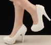 Buy 2015 Wedding Shoes White High Heel Bridal Dress Evening Party Prom Bridesmaid Gorgeous Formal