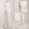 Buy 2016 Ivory Mermaid Wedding Dresses Lace Illusion Long Sleeve Bateau Backless Zipper Cheap Modest Real Image Bridal Gowns New Arrive