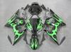 Buy ABS Fairing yamaha R6S 2006 2007 2008 2009 black green flames Plastic Bodywork Kit Set Fit R6 2003 2005 2004 get f