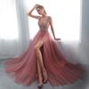 Sexy 2019 Prom Dresses Long V-Neck Beadings FAST SHIPPING High Split Pastel Tulle Women Formal Occasion Wear Evening Gowns A-Line IN STOCK