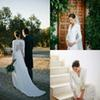 2019 Elegant Long Sleeve Country Wedding Dresses Sexy V Neck Sweep Train Charming Back Hollow Lace Appliques Garden Bridal Gowns vestido