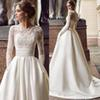 Vintage Long Sleeves Wedding Dresses 2019 Boat Neck Appliques Lace Satin Summer Spring Garden Bohemia Cheap Bridal Gowns