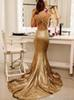2019 Glamorous Sequins Mermaid Evening Dresses Deep V Neck Sleeveless Open Back Champagne Gold Formal Prom Dresses Sweep Train