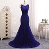 2018 Charming Navy Organza Sweep Train Beads Mermaid Evening Dress Sequins Lace Prom Gowns With Belt Custom Hollow Back Party Gown