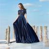 Elegant Navy Blue Lace Short Sleeves A-line Evening Dress Women Prom Maxi Gowns High Quality Pleated Party Event Wear Gown Vestidos Soiree