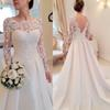 2019 Autumn and winter new one-shoulder long-sleeved wedding dress Lace Slim-style A sexy backless trailing satin wedding dress