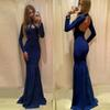 Elegant Dark Blue Long Sleeve Open Back Prom Dress High Neck Elastic Satin Mermaid Evening Dresses
