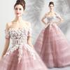 New Style Blush Pink Country Wedding Dresses 3D Floral Handmade Flower Off Shoulder Dubai Arabic Boho Wedding Bridal Gowns JY7188