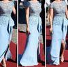 Buy Short Sleeve Celebrity Dresses 2015 Sheath Zuhair Murad Sheer Lace Top Low Back Slit Ruffles inspired Sofia Hellqvist Royal Pre-Wedding