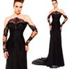 Buy Hot ! New Sexy Shoulder Sheath Chapel Train Chiffon Black See Long Sleeve Zuhair Murad Evening Dresses 2015 sleeves