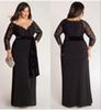 Buy Plus Size Black Evening Dresses Long Sleeves 2015 Line Deep V Neck Lace Floor Length Abendkleider Custom Made