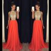 Buy Prom Dresses 2016 High Neck Evening Cheap Bridesmaid Orange Long Wear Wedding Gowns Sexy Ball