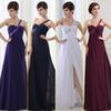 Buy 2015 New Cheap Stock One Shoulder Beads Line Front Slit Long Sexy Chiffon Evening Dresses Prom Party Gowns White Purple Dark Navy SD011