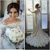 Buy 2015 Mermaid Lace Wedding Dresses Long Sleeves Beaded Beach Bridal Gown Bateau Court Train Satin Gowns Sexy Dress