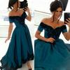 Buy Arabic Occasion Special Dresses Formal Shoulder Asymmetrical High Front Low Back Evening Prom Party Gowns Black Lace Appliques