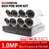 Buy 8CH POE Switch NVR Video Surveillance Kit Motion Detection recording H.264 Onvif 720P 1.0MP HD 24 IR Outdoor Bullet IP Camera
