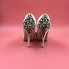 Buy Ivory Satin Rhinestones Wedding Shoes Pumps Peep Toe High Heels Platform Stilettos Party Crystals Back Heel Women Red/Royal Blue