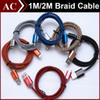 Buy 1m 3ft 2m 6ft Fabric Nylon Braid Strong Metal Copper Micro USB Sync Data Cable Charger Cord Line Adapter Samsung HTC LG Smart Phones