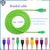 1 pcs Micro USB Braided Fabric V8 Charger Data Sync Nylon Flat Cable Cord Adapter Charging Flat Noodle Android iphone