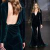 Buy 2016 Sexy Evening Velvet Dresses Plunging Deep V Neck Asymmetrical Backless Long Sleeve Prom Party Gowns High Split Sweep Train