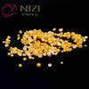 Buy Half Round Craft Pearls Gold Color 10-14mm Flatback Imitation Non Hotfix Resin Beads Scrapbooking IY Nails Art Accessories