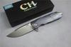Buy CH3501 folding knife D2 blade Ball bearing washer TC4 Ti handle camping hunting survival EDC tool