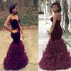 2016 Burgundy Mermaid Prom Dresses New African Velvet Evening Gowns Sexy Sweetheart Backless Sheath Ruffles Tiered Organz Celebrity Dresses