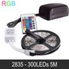 RGB LED Light Strips 5M 300LED 2835 SMD Flexible Light LED Tape Party Christmas Festival Decoration Lamps DC12V 2A Power Adapter + IR Remote