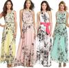 Buy Women Floral Beach Deep V Neck Boho Maxi Long Chiffon Dress summer beach dress sexy sleeveless casual long chiffon