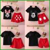 Buy fashion style hot selling Baby Boy Girls Kids Summer Mickey Mouse Clothes T-shirt dot red Dress Pants Outfit baby girl clothing