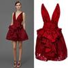 Buy Sexy Deep V Neck Red Short Evening Dresses 2016 Custom Made Sleeveless Peplum Ruffle Pockets High Waist Prom Gowns Summer Cocktail