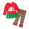 Buy Christmas kids costume baby girls&boys clothing sets cartoon t-shirt+striped pants children