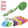 Buy 3m 2m 1m V8 Micro cable Flat Data Sync USB Charging Cable Noodle cellphone LG samsung s3 s4 s5 galaxy note 3 4 lenovo CAB004