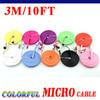 Buy 50 Micro USB Cable Colorful Noodle Flat cable 1M/3ft 2M/6ft 3M/10ft Samsung Galaxy S4 Note 2 Huawei Lenovo HTC Blackberry