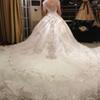 Buy Hot Luxury V-Neck Ball Gown Long Train Silk Organza Lace Applique Zuhair Murad 2014 Church Wedding Dresses Crystal Beaded Bling Bridal Gowns
